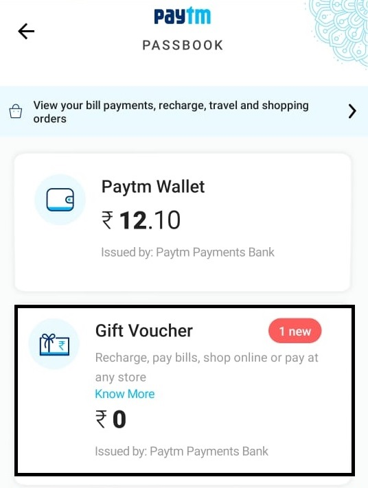 Redeem Paytm Gift Card.